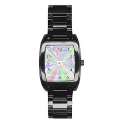 Tunnel With Bright Colors Rainbow Plaid Love Heart Triangle Stainless Steel Barrel Watch by Alisyart
