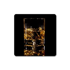 Drink Good Whiskey Square Magnet by Onesevenart