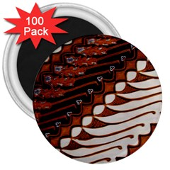 Traditional Batik Sarong 3  Magnets (100 Pack) by Onesevenart