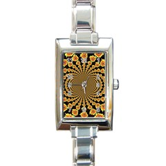 Psychedelic Sunflower Rectangle Italian Charm Watch by Photozrus