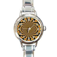 Psychedelic Sunflower Round Italian Charm Watch by Photozrus