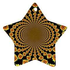 Psychedelic Sunflower Star Ornament (two Sides) by Photozrus
