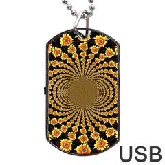 Psychedelic Sunflower Dog Tag Usb Flash (two Sides) by Photozrus