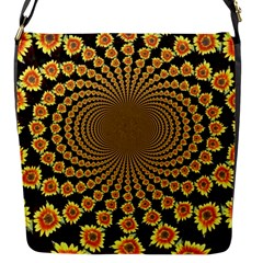 Psychedelic Sunflower Flap Messenger Bag (s) by Photozrus