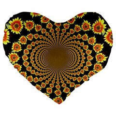 Psychedelic Sunflower Large 19  Premium Flano Heart Shape Cushions by Photozrus