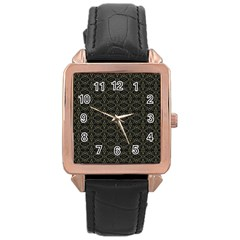 Dark Interlace Tribal  Rose Gold Leather Watch  by dflcprints