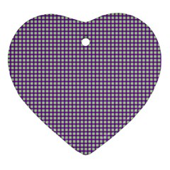 Mardi Gras Purple Plaid Ornament (heart) by PhotoNOLA