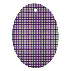 Mardi Gras Purple Plaid Oval Ornament (Two Sides)