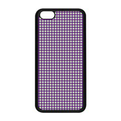 Mardi Gras Purple Plaid Apple Iphone 5c Seamless Case (black) by PhotoNOLA