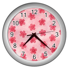 Watercolor Flower Patterns Wall Clocks (silver)  by TastefulDesigns