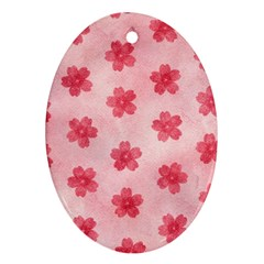 Watercolor Flower Patterns Oval Ornament (two Sides)
