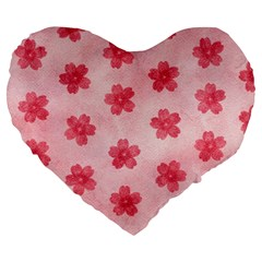 Watercolor Flower Patterns Large 19  Premium Flano Heart Shape Cushions by TastefulDesigns