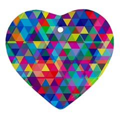 Colorful Abstract Triangle Shapes Background Ornament (heart) by TastefulDesigns