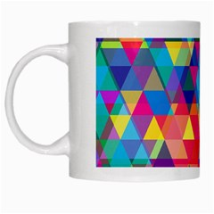 Colorful Abstract Triangle Shapes Background White Mugs by TastefulDesigns