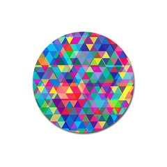 Colorful Abstract Triangle Shapes Background Magnet 3  (round) by TastefulDesigns