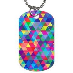 Colorful Abstract Triangle Shapes Background Dog Tag (one Side) by TastefulDesigns