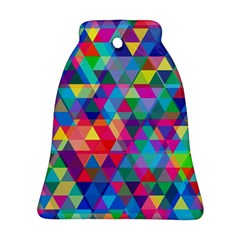 Colorful Abstract Triangle Shapes Background Bell Ornament (two Sides) by TastefulDesigns