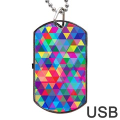 Colorful Abstract Triangle Shapes Background Dog Tag Usb Flash (two Sides) by TastefulDesigns
