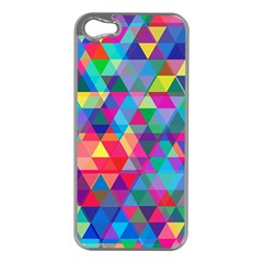 Colorful Abstract Triangle Shapes Background Apple Iphone 5 Case (silver) by TastefulDesigns