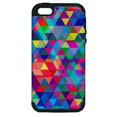 Colorful Abstract Triangle Shapes Background Apple Iphone 5 Hardshell Case (pc+silicone) by TastefulDesigns