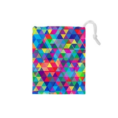 Colorful Abstract Triangle Shapes Background Drawstring Pouches (small)  by TastefulDesigns