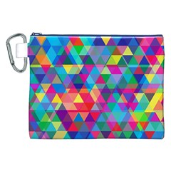 Colorful Abstract Triangle Shapes Background Canvas Cosmetic Bag (xxl) by TastefulDesigns
