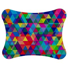 Colorful Abstract Triangle Shapes Background Jigsaw Puzzle Photo Stand (bow) by TastefulDesigns