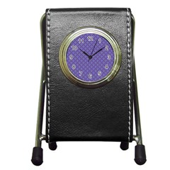 Abstract Purple Pattern Background Pen Holder Desk Clocks by TastefulDesigns