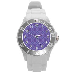 Abstract Purple Pattern Background Round Plastic Sport Watch (l) by TastefulDesigns