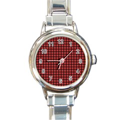 Red Plaid Round Italian Charm Watch by PhotoNOLA