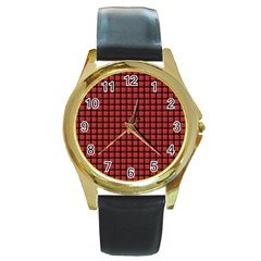 Red Plaid Round Gold Metal Watch by PhotoNOLA