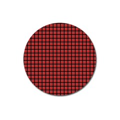 Red Plaid Magnet 3  (round) by PhotoNOLA