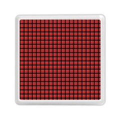 Red Plaid Memory Card Reader (square)  by PhotoNOLA