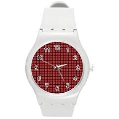 Red Plaid Round Plastic Sport Watch (m) by PhotoNOLA