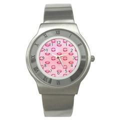 Watercolor Kisses Patterns Stainless Steel Watch by TastefulDesigns