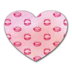 Watercolor Kisses Patterns Heart Mousepads by TastefulDesigns