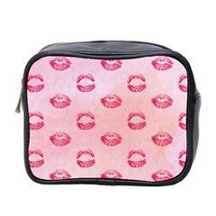 Watercolor Kisses Patterns Mini Toiletries Bag 2 Side by TastefulDesigns