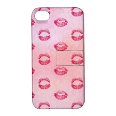 Watercolor Kisses Patterns Apple Iphone 4/4s Hardshell Case With Stand by TastefulDesigns