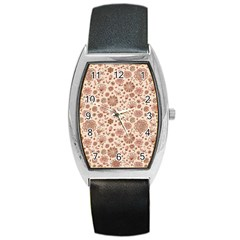 Retro Sketchy Floral Patterns Barrel Style Metal Watch by TastefulDesigns