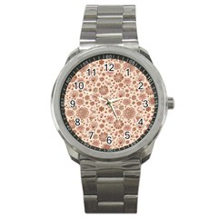 Retro Sketchy Floral Patterns Sport Metal Watch by TastefulDesigns