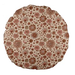 Retro Sketchy Floral Patterns Large 18  Premium Flano Round Cushions by TastefulDesigns