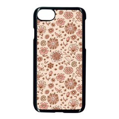 Retro Sketchy Floral Patterns Apple Iphone 7 Seamless Case (black) by TastefulDesigns