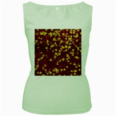 Background Design Leaves Pattern Women s Green Tank Top by Simbadda