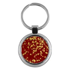 Background Design Leaves Pattern Key Chains (round)  by Simbadda