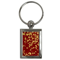 Background Design Leaves Pattern Key Chains (rectangle)  by Simbadda