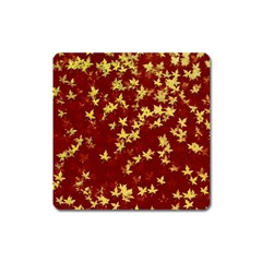 Background Design Leaves Pattern Square Magnet by Simbadda