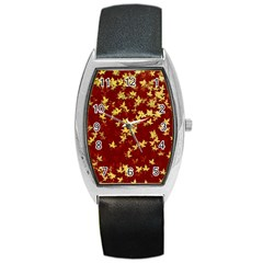 Background Design Leaves Pattern Barrel Style Metal Watch by Simbadda