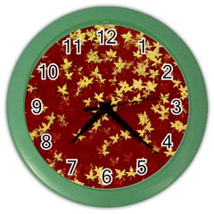 Background Design Leaves Pattern Color Wall Clocks by Simbadda