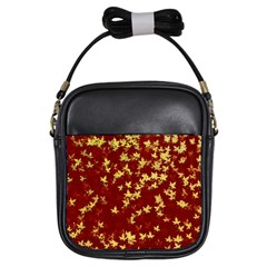 Background Design Leaves Pattern Girls Sling Bags by Simbadda