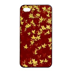 Background Design Leaves Pattern Apple Iphone 4/4s Seamless Case (black) by Simbadda